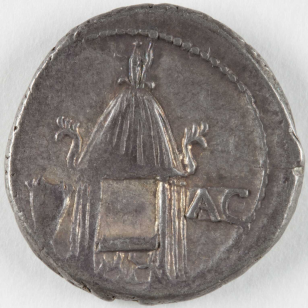 Roman coin with curule chair and voting urn